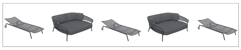 Kove aluminium daybed and sun lounger