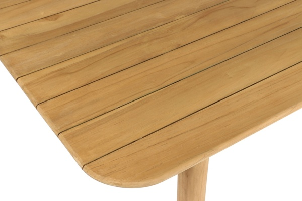 Tradition Outdoor Teak Dining Table Close Up View