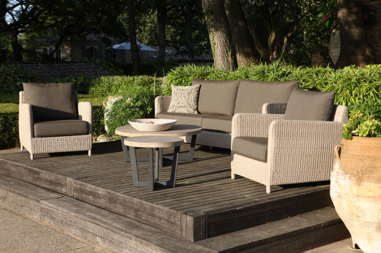 Valhalla Wicker Deep Seating with Jimmy Outdoor Tables