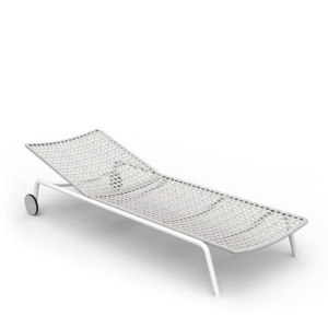 kove outdoor aluminium sun lounger in white