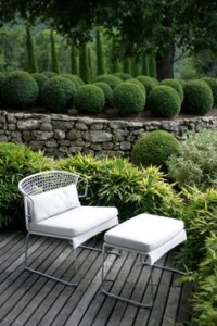 Sophia Chalk White Deck Chair and Ottoman