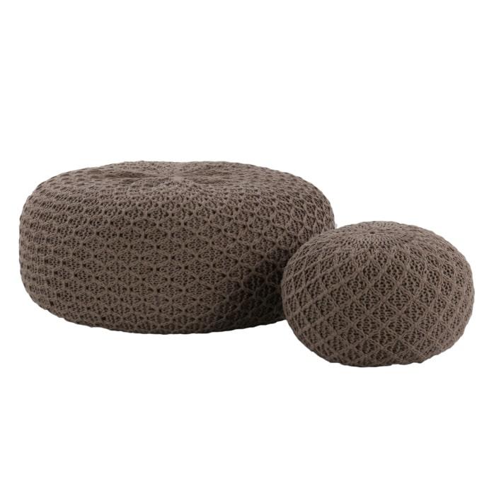 Round Stone Poufs