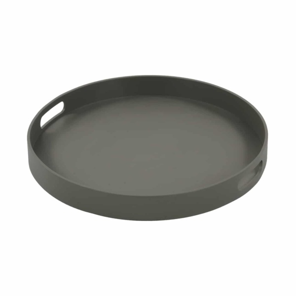 Handi Large Outdoor Aluminum Round Tray in Grey