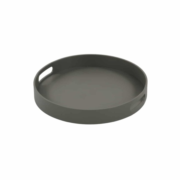 Handi Small Outdoor Aluminum Round Tray in Grey