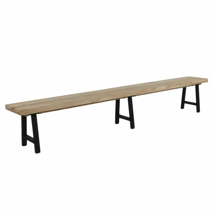 Santa Fe Teak and Aluminum Outdoor Bench in Black Angle View