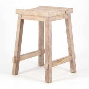 Alice Outdoor Reclaimed Teak Counter Height Bar Stool - Angle View