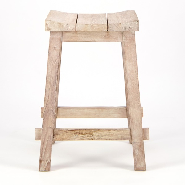 Alice Outdoor Reclaimed Teak Counter Height Bar Stool - Side View