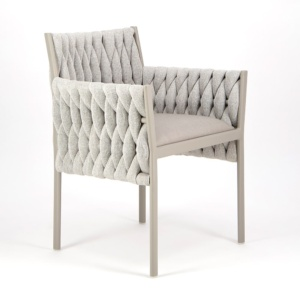 Calvin Dining Arm Chair Grey - Angle View