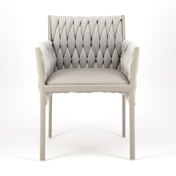 Calvin Dining Arm Chair Grey - Front View