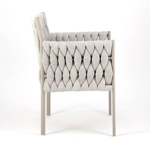 Calvin Dining Arm Chair Grey - Side View