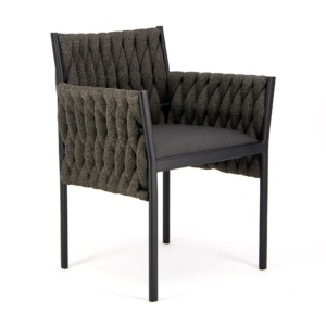 Calvin Outdoor Dining Arm Chair Coal - Angle View