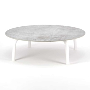 Kobii Outdoor Aluminum Round Coffee Table White - Angle View