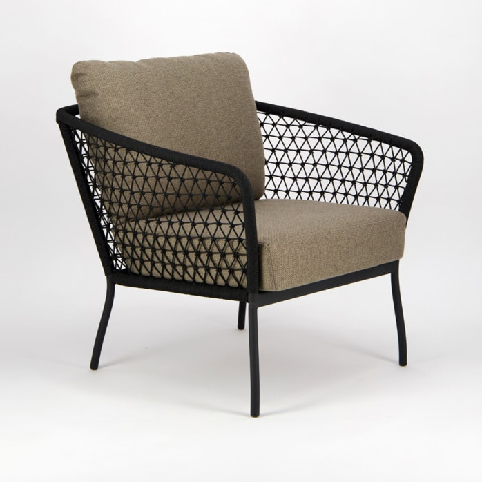 Lola Outdoor Wicker Relaxing Chair in Black - Angle View