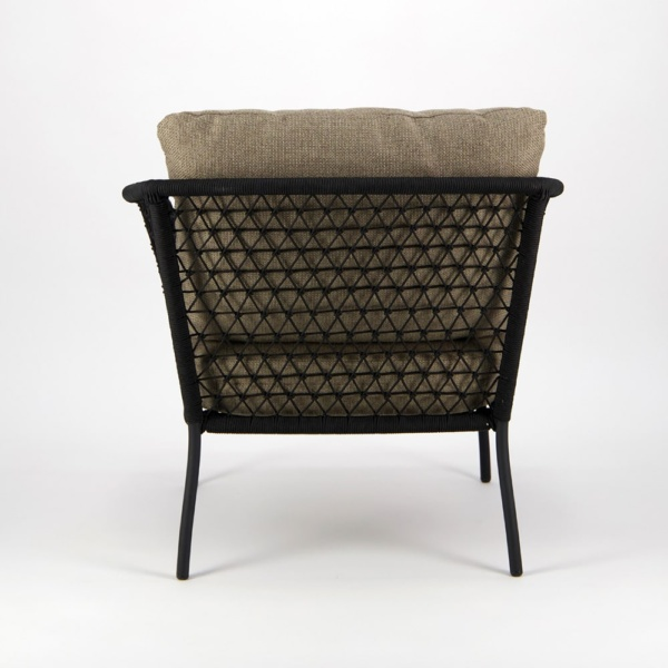 Lola Outdoor Wicker Relaxing Chair in Black - Back View