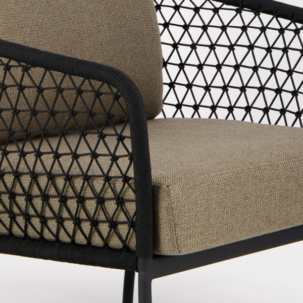 Lola Outdoor Wicker Relaxing Chair in Black - Closeup View