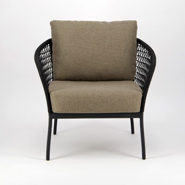 Lola Outdoor Wicker Relaxing Chair in Black - Front View