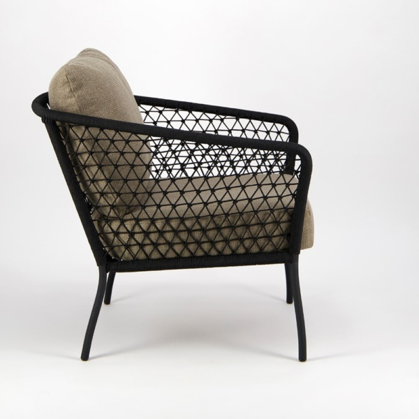 Lola Outdoor Wicker Relaxing Chair in Black - Side View