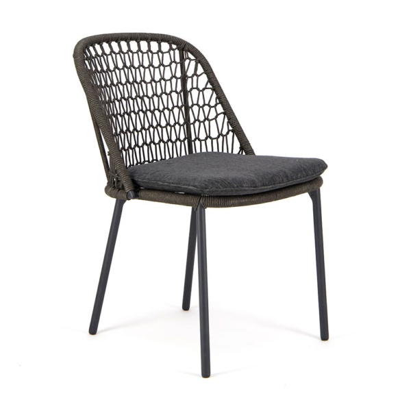 Mel Outdoor Rope Dining Side Chair Charcoal - Angle View