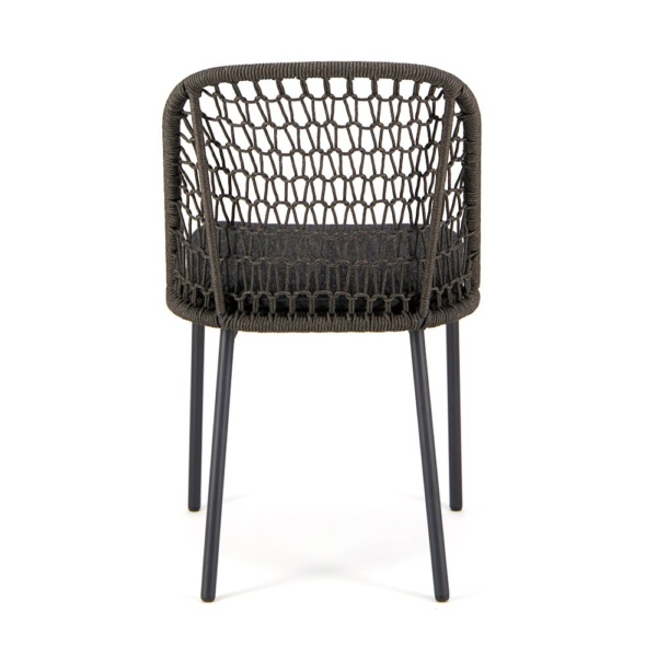 Mel Outdoor Rope Dining Side Chair Charcoal - Rear View