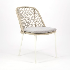 Mel Outdoor Rope Dining Side Chair White - Angle View