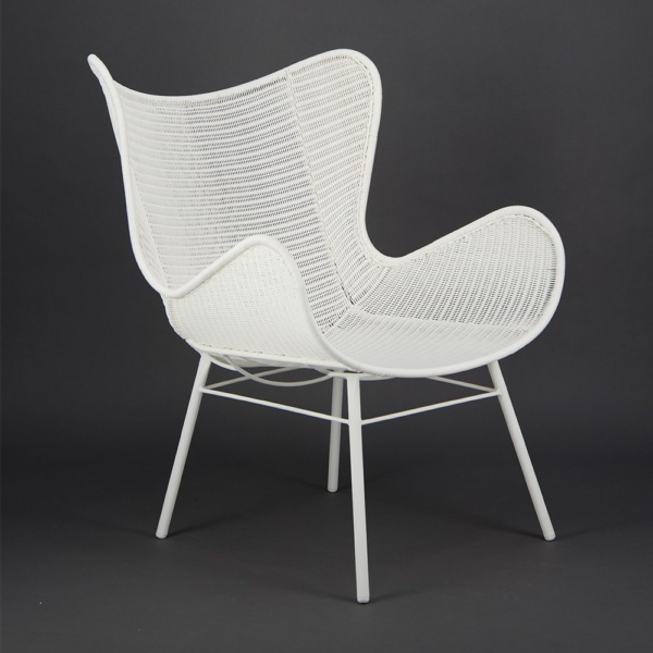 Nairobi Pure Outdoor Wicker Wing Chair White - Angle View