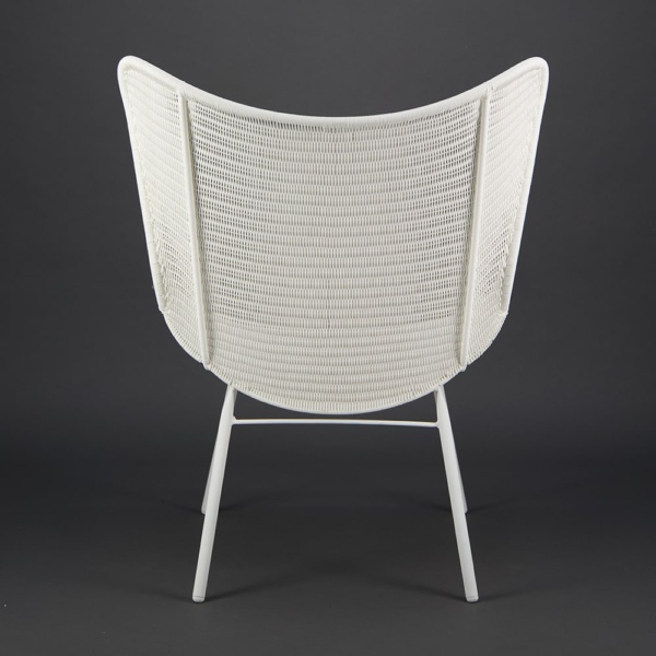 Nairobi Pure Outdoor Wicker Wing Chair White - Rear View