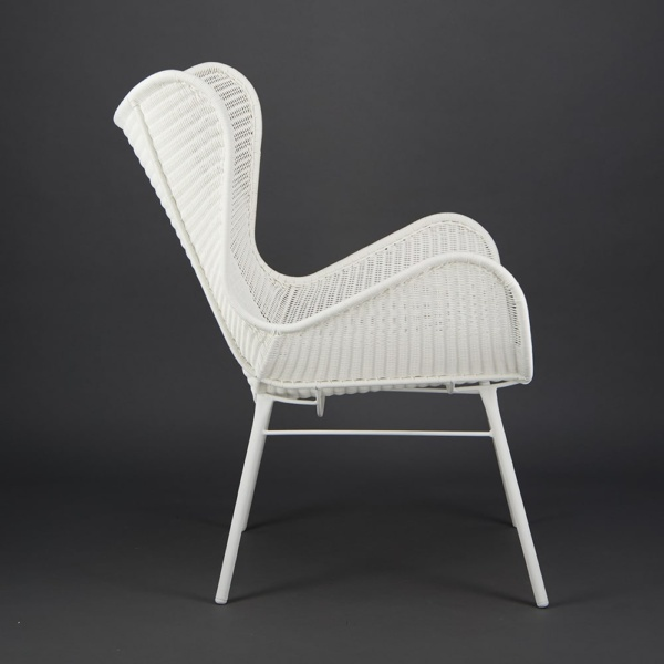 Nairobi Pure Outdoor Wicker Wing Chair White - Side View