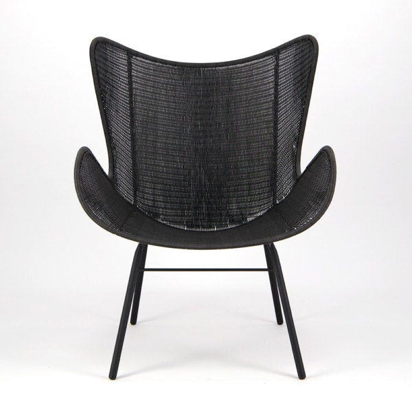 Nairobi Pure Wicker Wing Chair Black - Front View