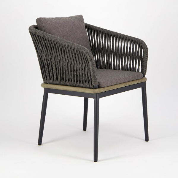 Oasis Outdoor Dining Arm Chair in Blend Coal - Angle View