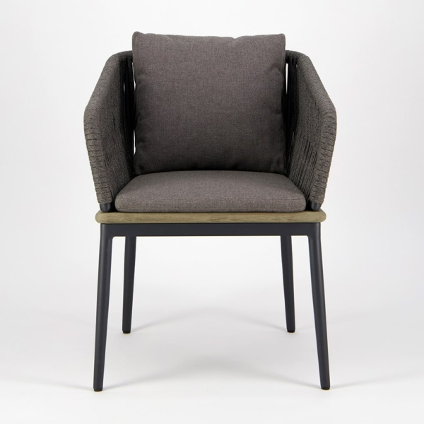 Oasis Outdoor Dining Arm Chair in Blend Coal - Front View