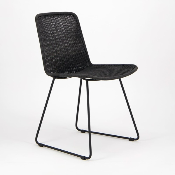 Olive Wicker Dining Side Chair Black - Angle View