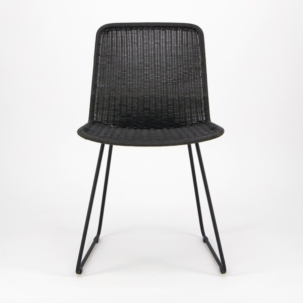 Olive Wicker Dining Side Chair Black - Front View