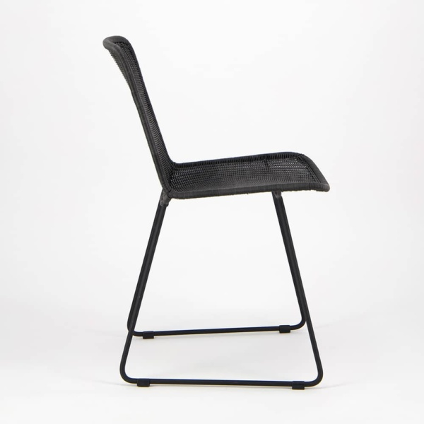 Olive Wicker Dining Side Chair Black - Side View