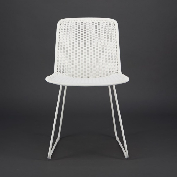 Olive Wicker Dining Side Chair Stonewhite - Front View