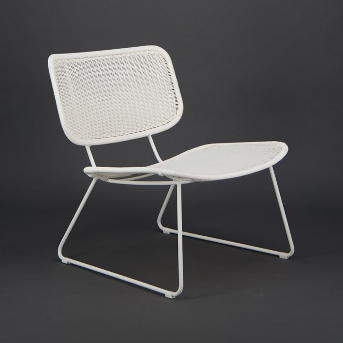 Polly Outdoor Wicker Relaxing Chair Stonewhite - Angle View