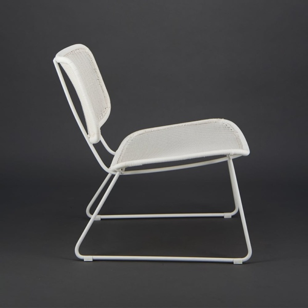 Polly Outdoor Wicker Relaxing Chair Stonewhite - Side View