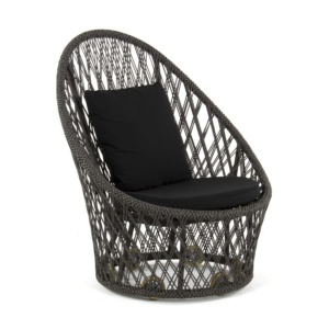 Sunai Open Weave Relaxing Chair - Black Cushions