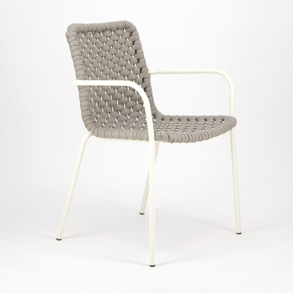 Terri Outdoor Dining Arm Chair Grey Rubber Rope - Angle View
