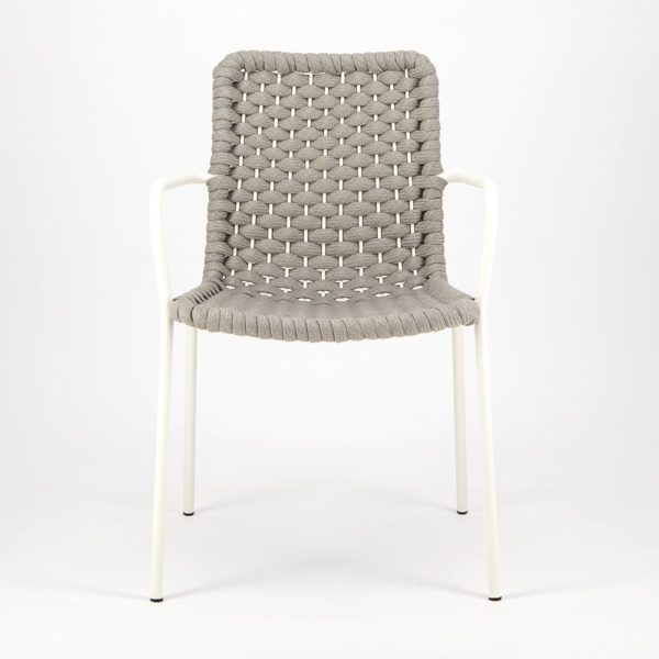 Terri Outdoor Dining Arm Chair Grey Rubber Rope - Front View