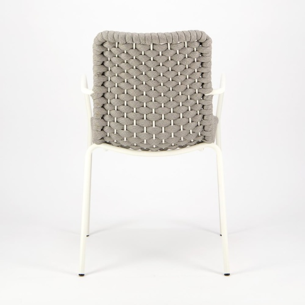 Terri Outdoor Dining Arm Chair Grey Rubber Rope - Rear View