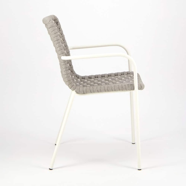 Terri Outdoor Dining Arm Chair Grey Rubber Rope - Side View