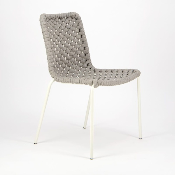Terri Outdoor Dining Side Chair Grey Rubber Rope - Angle View