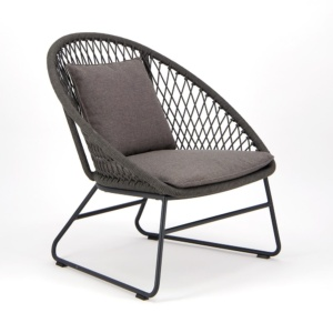 Zaha Outdoor Lounge Chair Cross Weave - Angle View