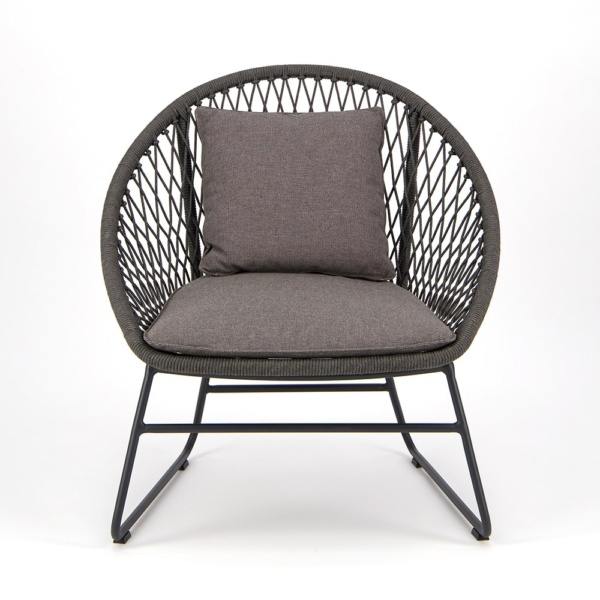 Zaha Outdoor Lounge Chair Cross Weave - Front View