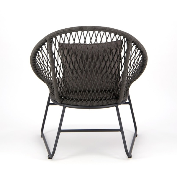 Zaha Outdoor Lounge Chair Cross Weave - Rear View