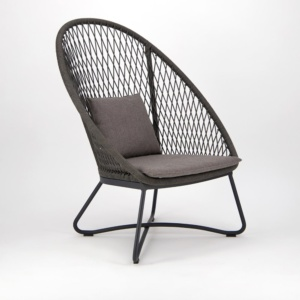 Zaha Outdoor Lounge Chair High Back Cross Weave - Angle View