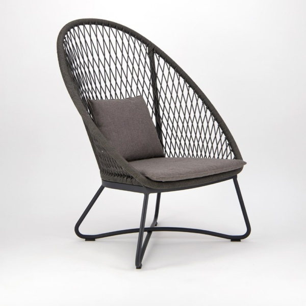 Zaha Outdoor Lounge Chair High Back Cross Weave - Angle View