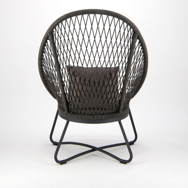 Zaha Outdoor Lounge Chair High Back Cross Weave - Back View