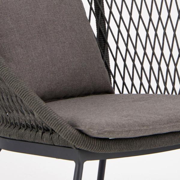 Zaha Outdoor Lounge Chair High Back Cross Weave - Closeup View