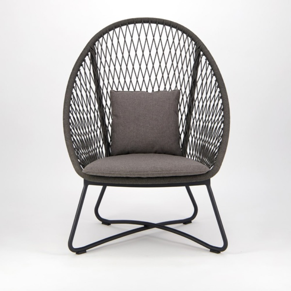 Zaha Outdoor Lounge Chair High Back Cross Weave - Front View